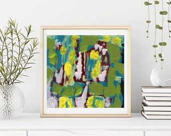 Large Green Modern Abstract Wall Decor, Living Room Wall Art, Unframed Print