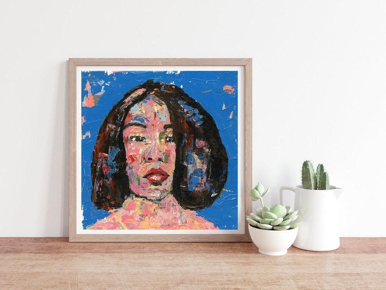 Colorful Palette Knife Portrait Painting Print Unframed image 0