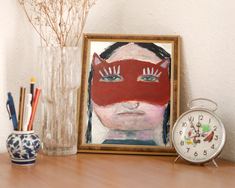 Red Masquerade Mask Portrait Painting Unframed Print on Paper image 0