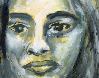 Woman Portrait Unframed Painting Print - Shamed By Hurtful Words