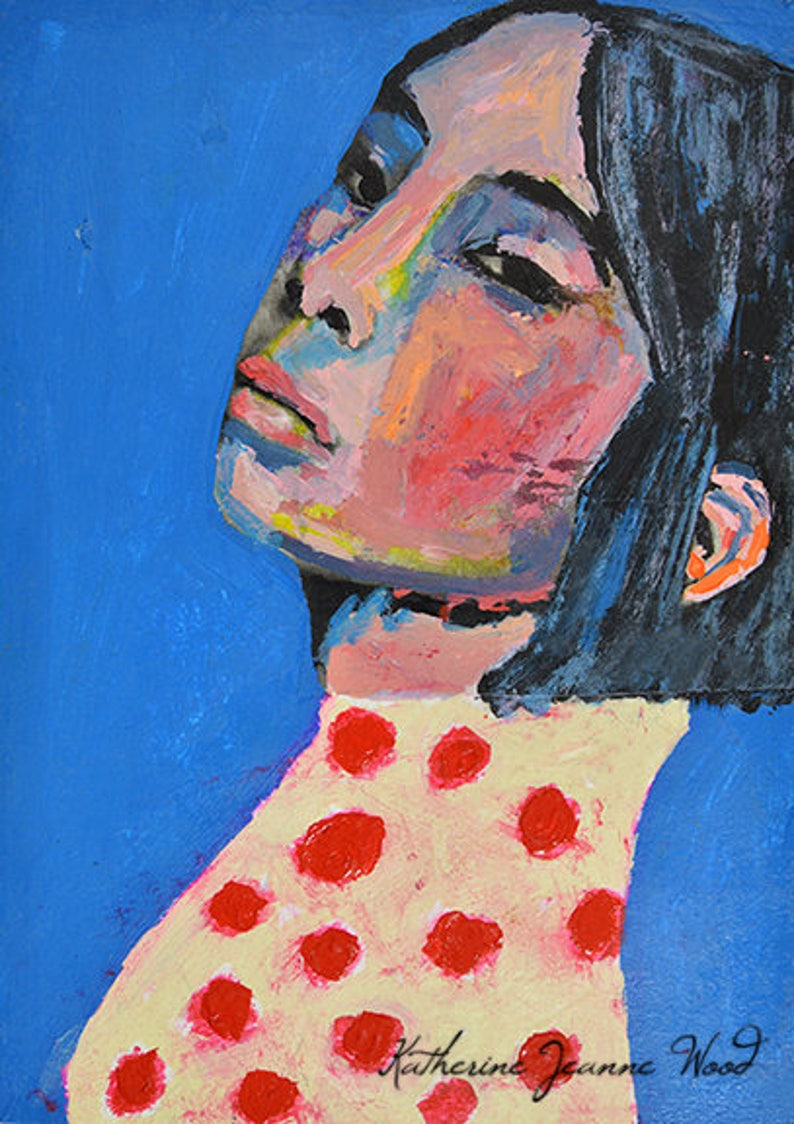 Acrylic Asian Woman Portrait Small Painting image 0