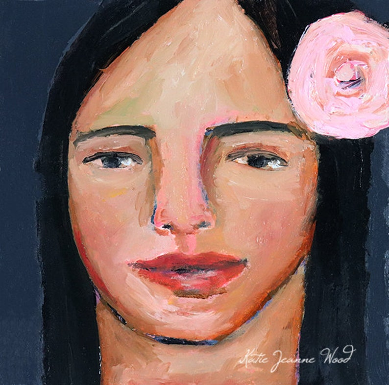 Miniature Oil Portrait Painting. Woman Wearing Pink Rose in image 0