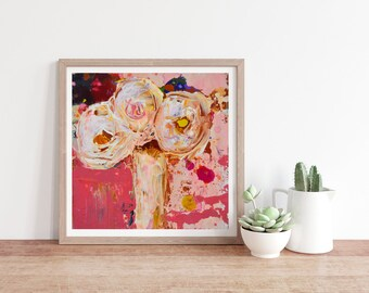Pink & White Roses Painting Unframed Prints No 82