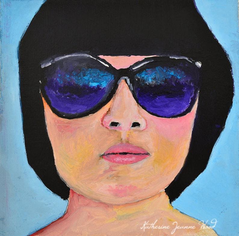Summertime Art Oil Portrait Painting Girl Wearing image 0