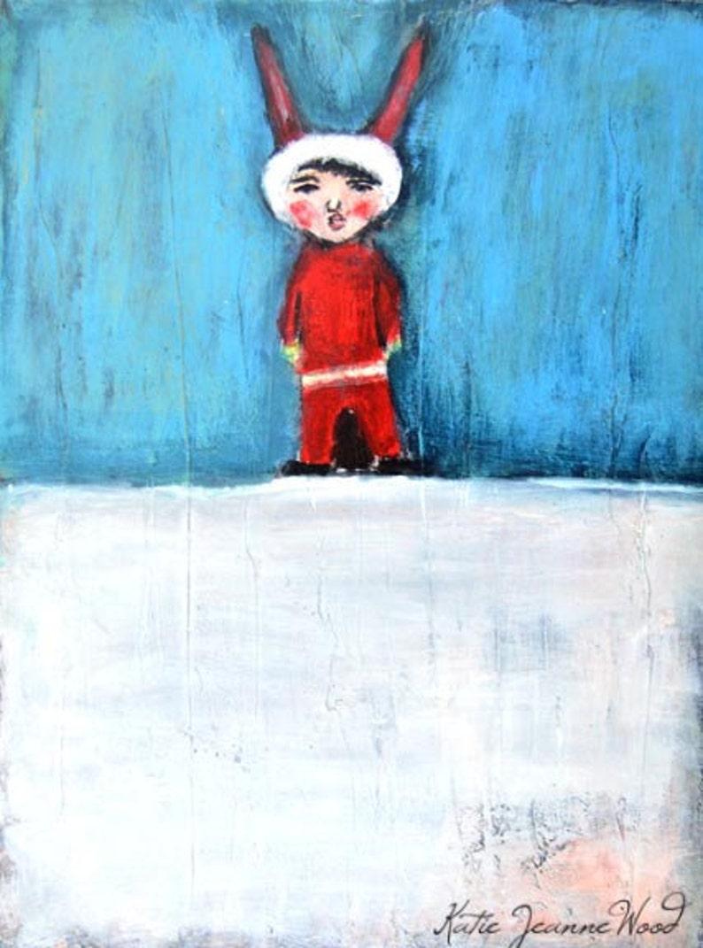 Little Boy Elf Nursery Decor  Original Winter Acrylic image 0