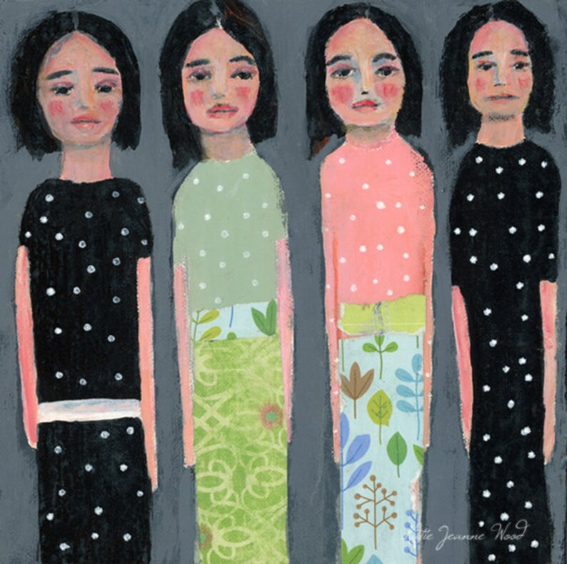 Four Sisters Bear Witness Whimsical Painting Print image 0