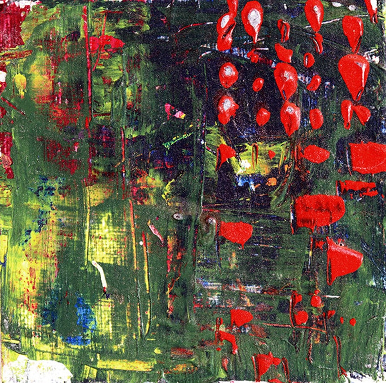 Red & Green Acrylic Abstract Art Miniature Painting image 0