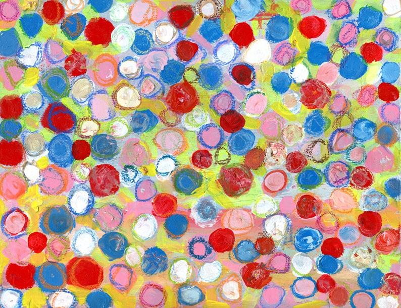 Large Geometric Circle Painting Playful Cheery Bright Acrylic image 0