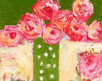 Pink Roses Unframed Painting Prints,  Chartreuse No 287