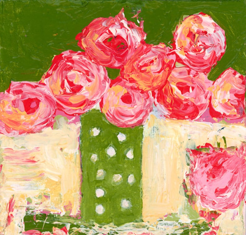 Pink Roses Painting Prints  Chartreuse No 287 image 0
