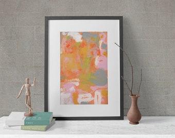 Modern Pink & Orange Abstract Art Farmhouse Prints, Unframed Bar Art, Living Room Print, Bedroom Print - Mai Tai Dreams