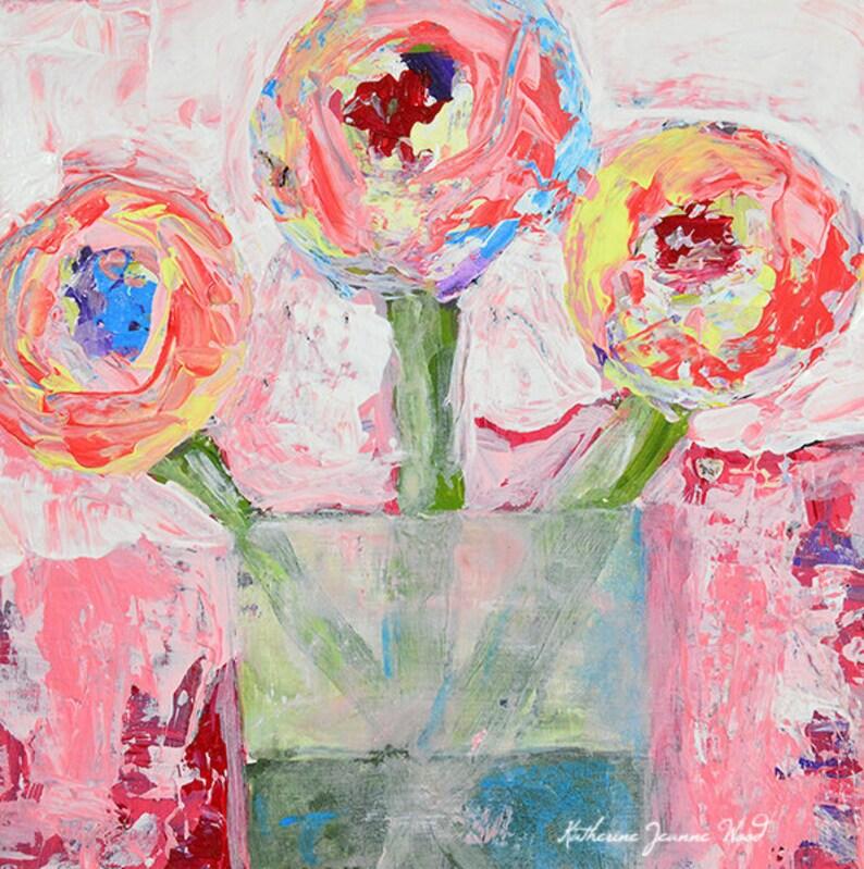 Shabby Chic Decor  Acrylic Flower Painting No 324 image 0