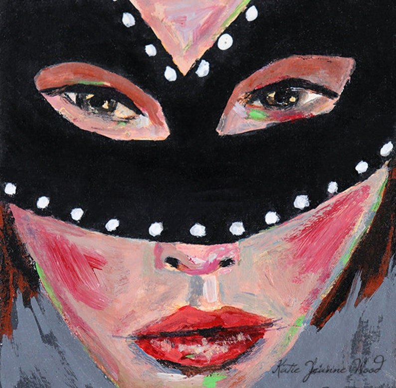 Masquerade Mask Halloween Art Acrylic Miniature Portrait image 0