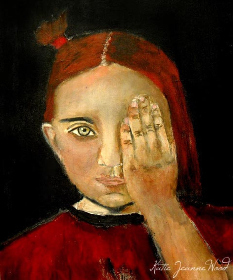 Little Girl's Room Decor Red Pigtails Portrait Painting image 0