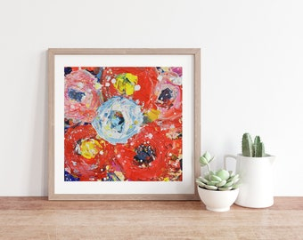 Pink & Blue Roses Flower Unframed Painting Unframed Prints No 319