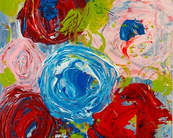 Colorful Abstract Floral, Original Miniature Flower Art, Palette Knife Painting No 350