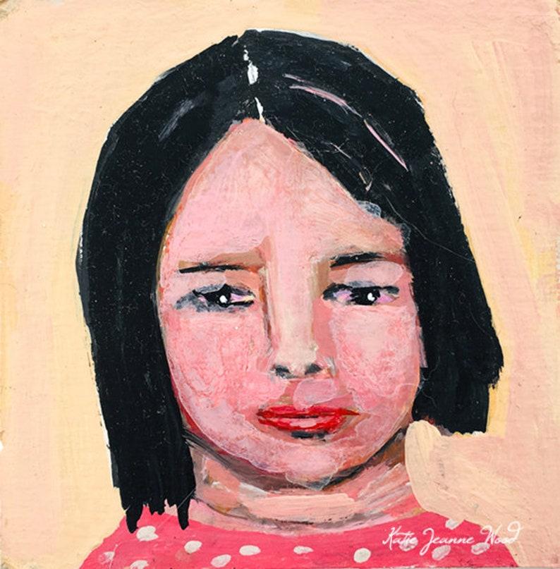 Acrylic Portrait Miniature Painting Cheap Art image 0