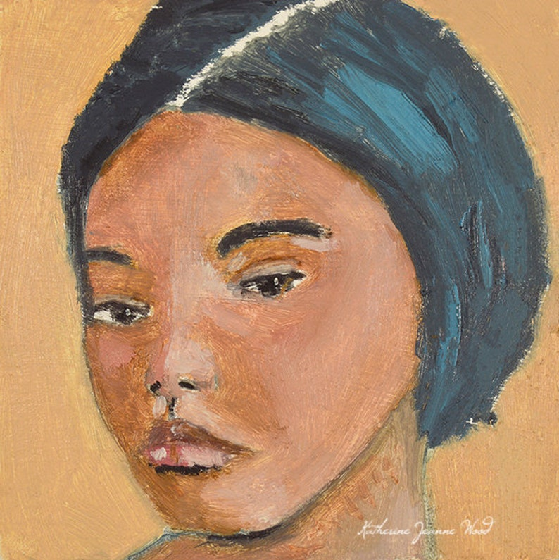 Oil Portrait Painting Small Wall Art for Dorm image 0