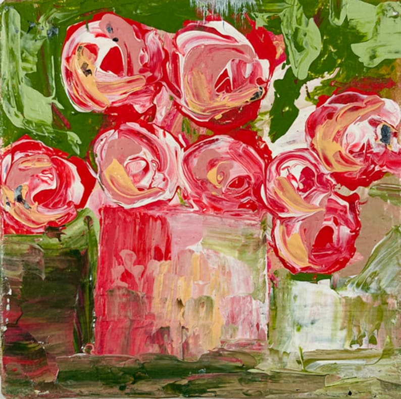 Pink Roses Abstract Floral Art  Palette Knife Painting No 294 image 0
