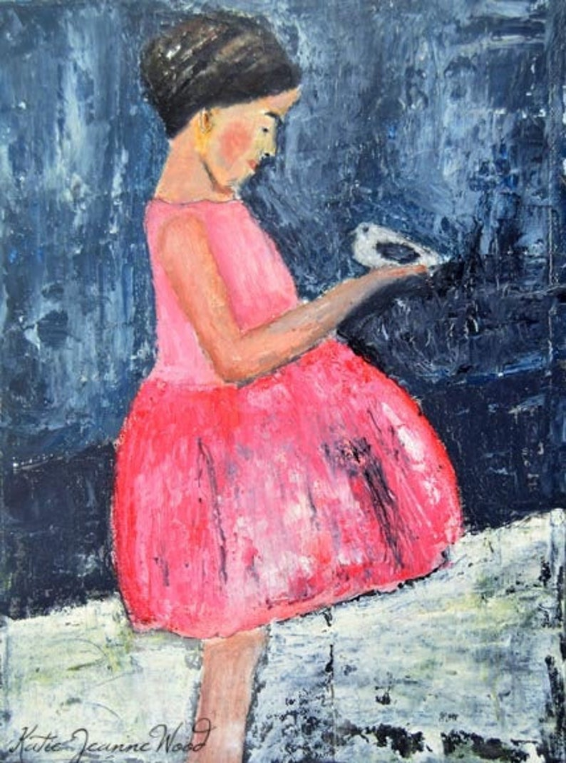 Girl Pink Party Dress & Dove Bird Painting Print image 0