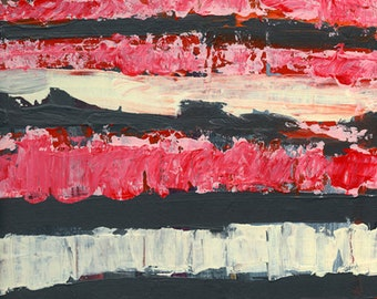 Farmhouse Style Painting, Pink & Gray Stripes Painting, Acrylic Abstract Painting
