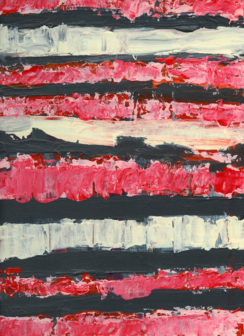 Farmhouse Style Pink & Gray Stripes Acrylic Abstract Painting image 0