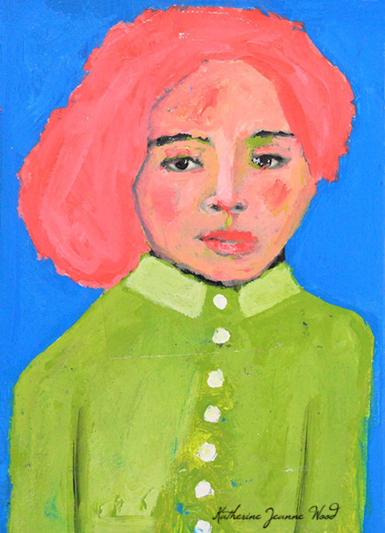 Pink Hair Girl Wearing Green Pea Coat Portrait Painting image 0