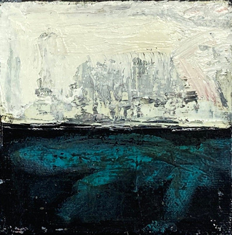 Miniature Black White Teal Abstract Impasto Oil Landscape image 0