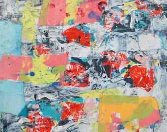Unframed Colorful Abstract Painting Paper & Canvas Print - Ripped Apart Like a Birthday Present