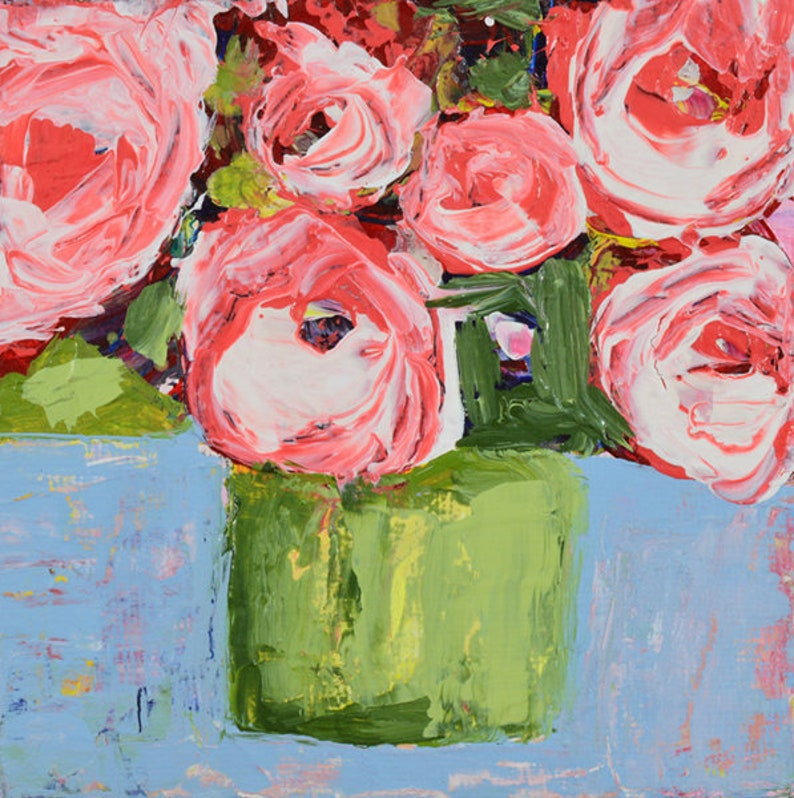 Pink Roses Painting Prints Chartreuse Vase No 260 image 0