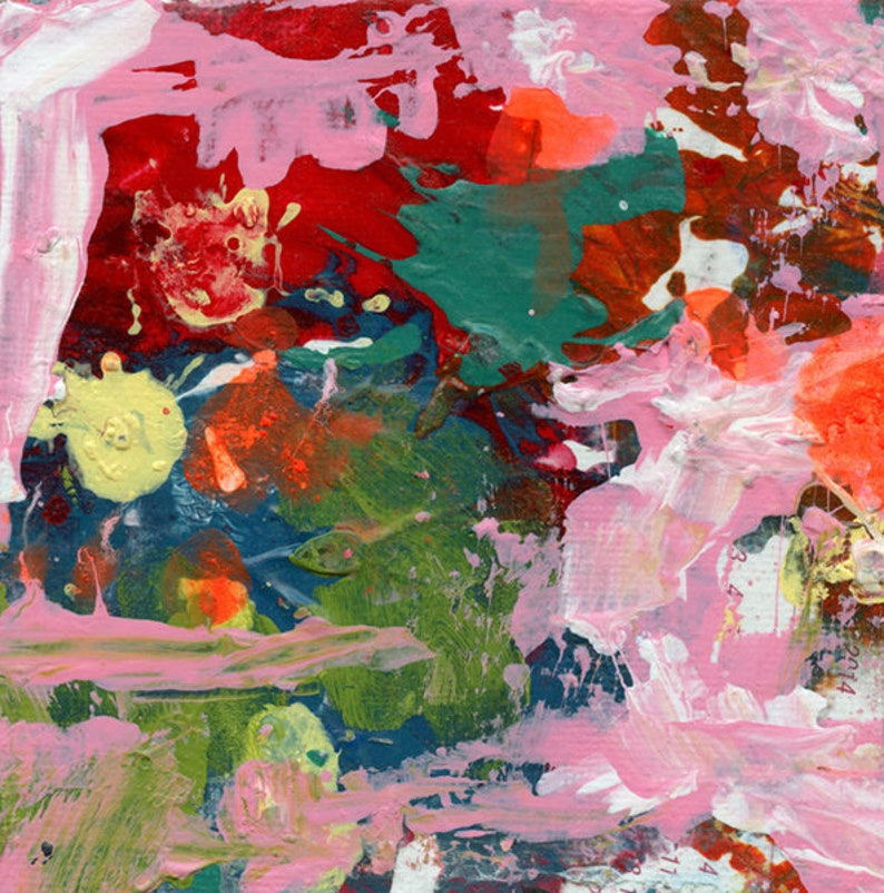 Green & Pink Abstract Painting  Overflowing Cup image 0