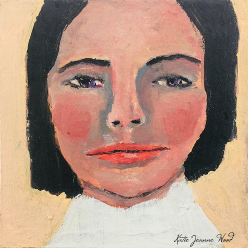 Miniature Acrylic Woman Portrait Painting image 0