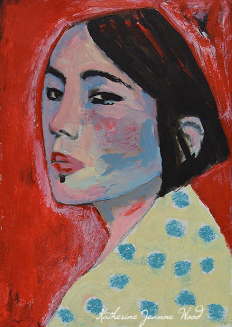 Mixed Media Acrylic Portrait Painting Girl Wearing Teal Polka image 0