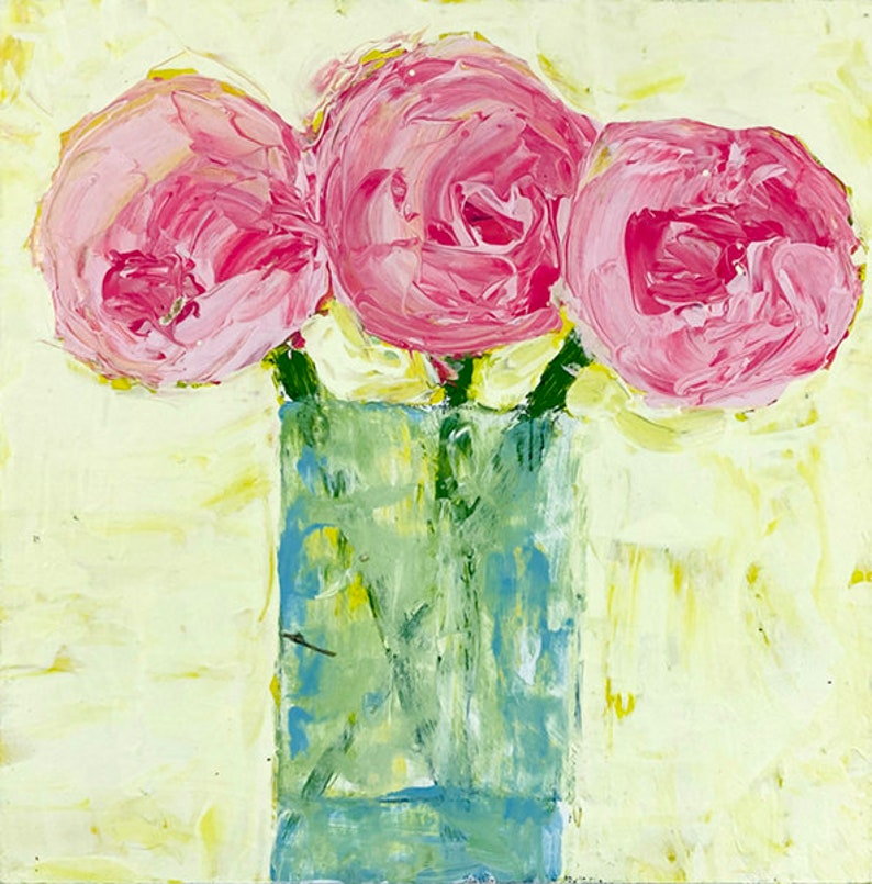 Shabby Chic Decor  Yellow & Pink Acrylic Flower Painting No image 0