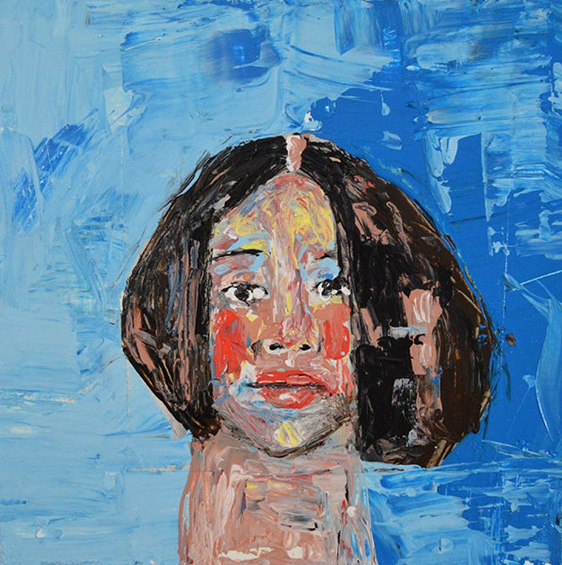 Palette Knife Portrait Original Painting. Gift For Her Small image 0