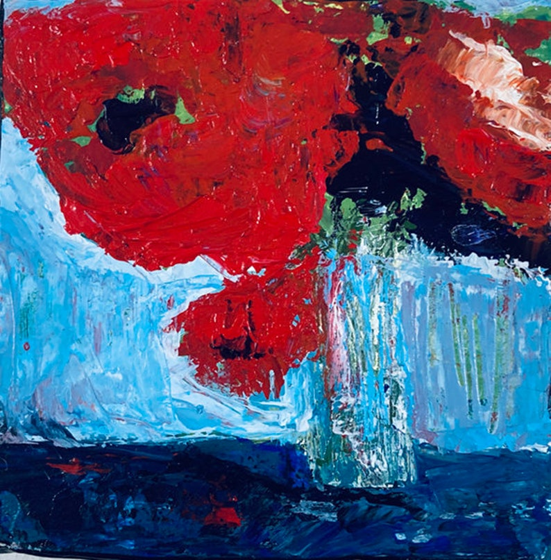 Red Poppy Floral Canvas Art  Palette Knife Painting No 29 image 0