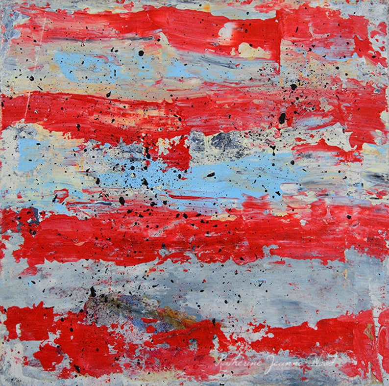 Red & Blue Striped Abstract Palette Knife Art image 0