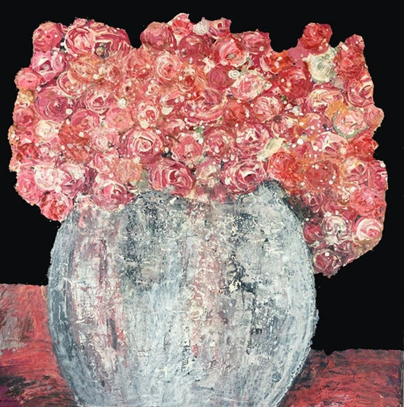 Pink Roses Painting Dining Room Painting Living Room Art image 0