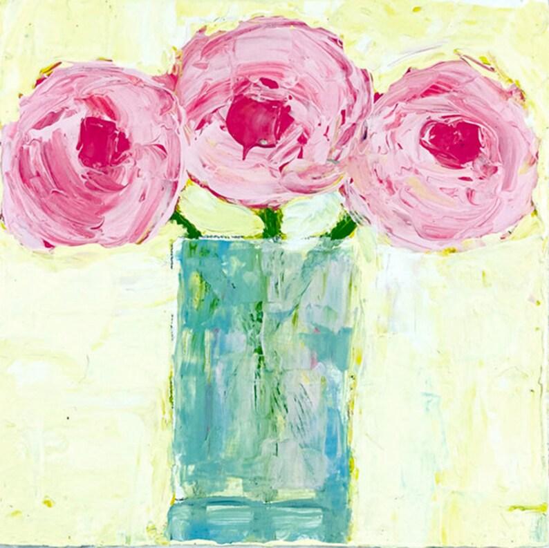 Shabby Chic Decor Acrylic Flower Painting Vase of Pink image 0