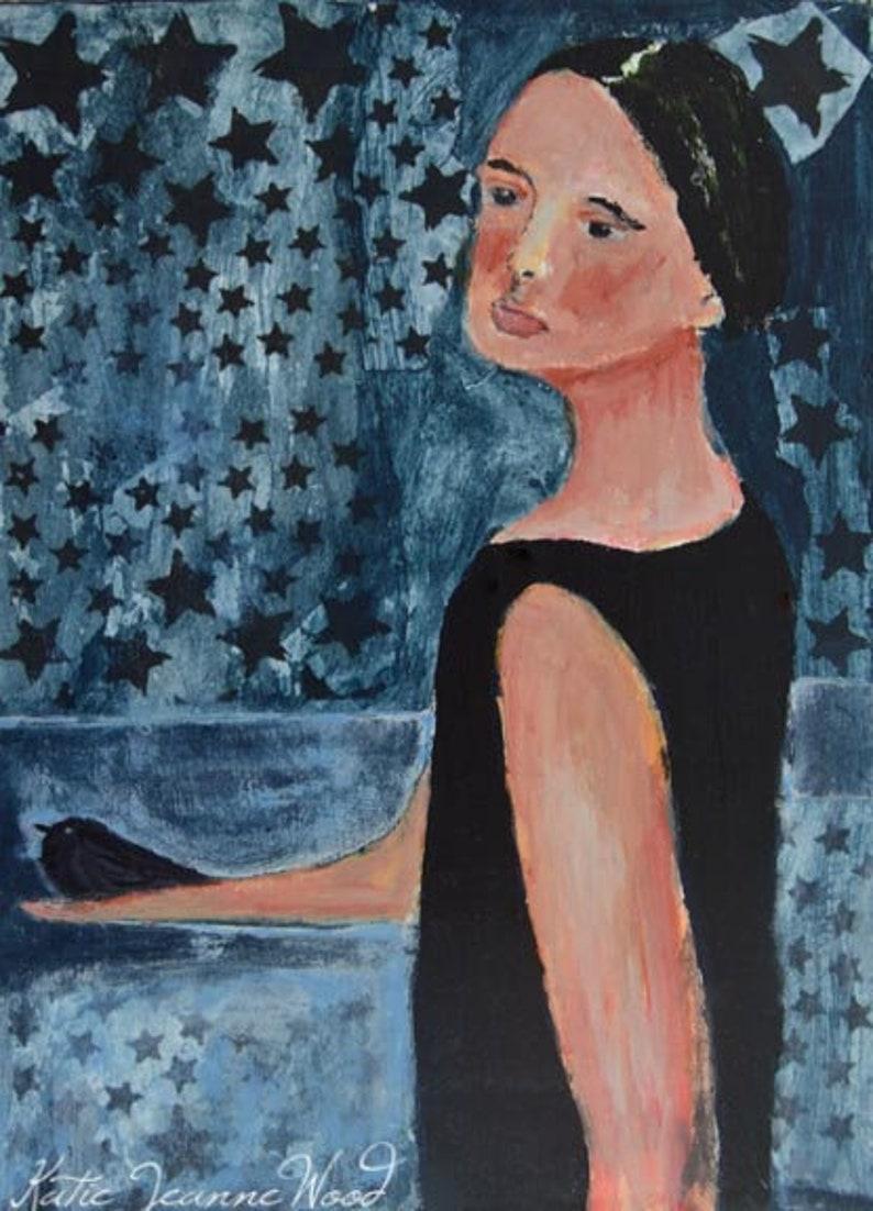 Night Sky Bird Art Night Crow Painting  Her Gift to the image 0