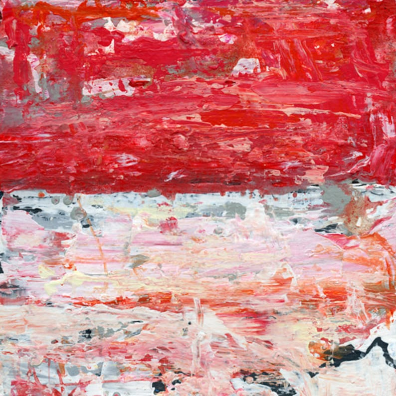Pink & White Acrylic Abstract Farmhouse Painting Museum image 0