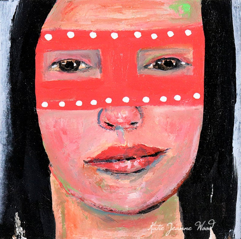 Girl Wearing Pink Masquerade Mask Halloween Fall Art No 5 image 0