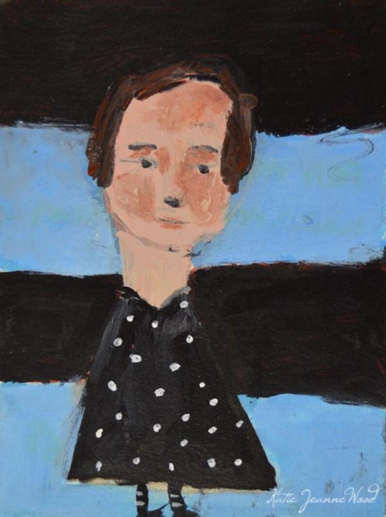 Acrylic Girl Portrait Painting. Polka Dotted Dress. Original image 0