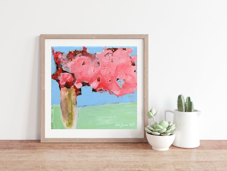 Pink Roses Abstract Farmhouse Flower Painting Unframed Print image 0