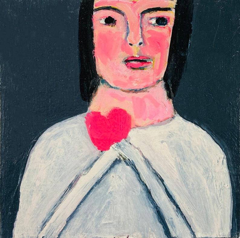 Clearance Sale  Original Girl Heart Portrait Painting  image 0