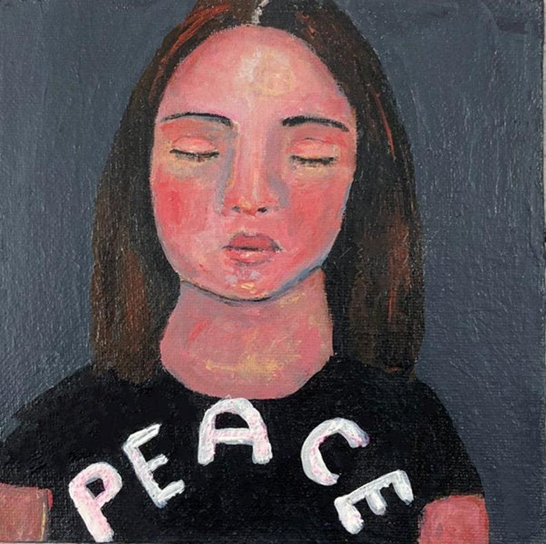 Original Buddhist Meditating Portrait Painting Spiritual Art image 0