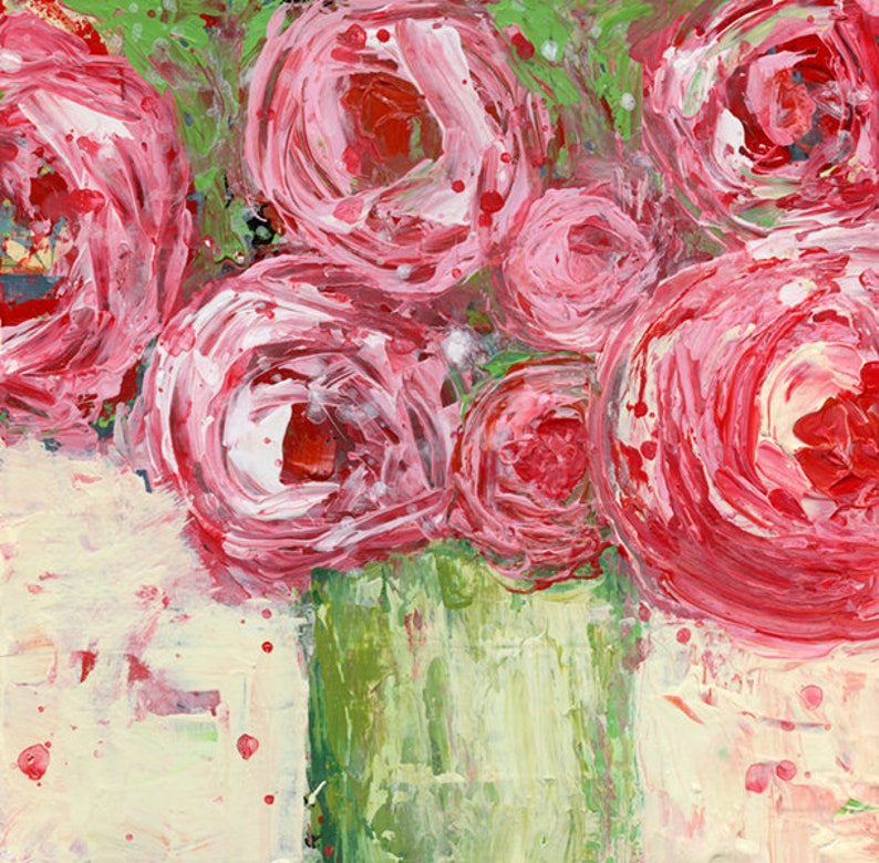 Pink Roses Painting Chartreuse Vase Farmhouse Style Painting image 0