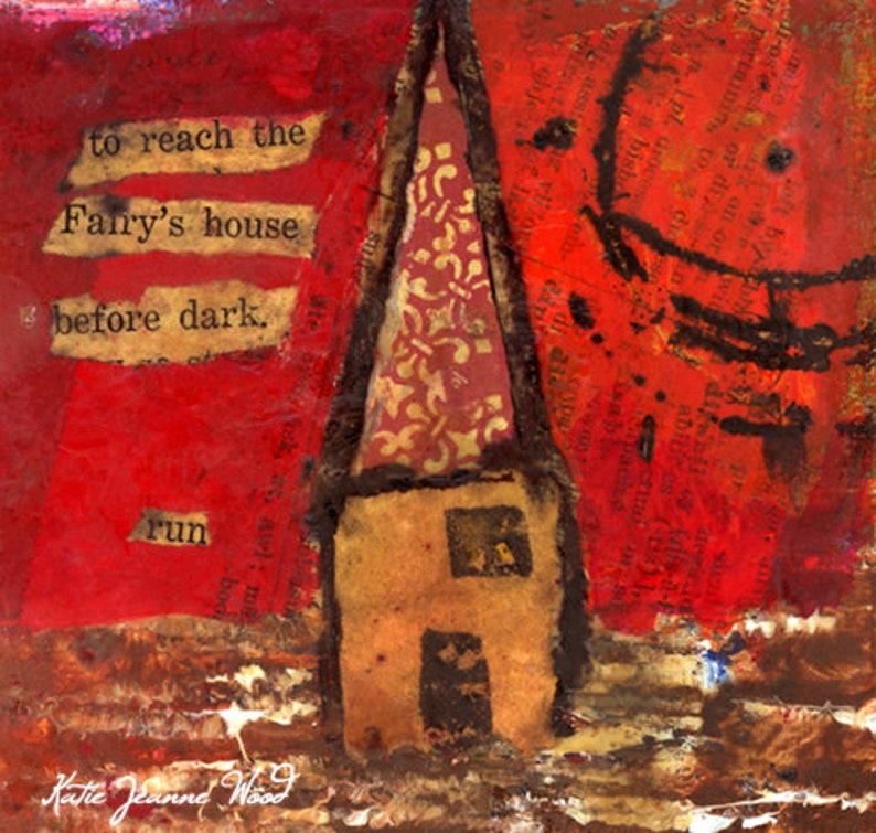 Whimsical Red Fairy's House Painting Print image 0