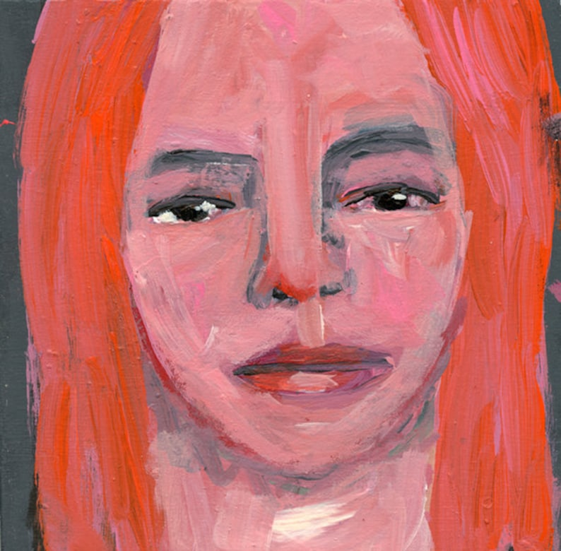 Moody Portrait Painting Original Pink Orange Hair Scorned image 0
