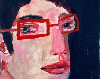 Acrylic Portrait Painting Original, Man Portrait Painting, Red Glasses Painting, Katie Jeanne Wood - Dark Evening